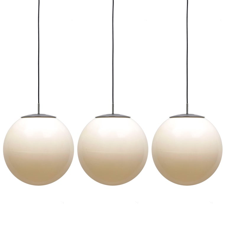 Set of 1960s Three Large Ball Hanging Lights in White Plastic