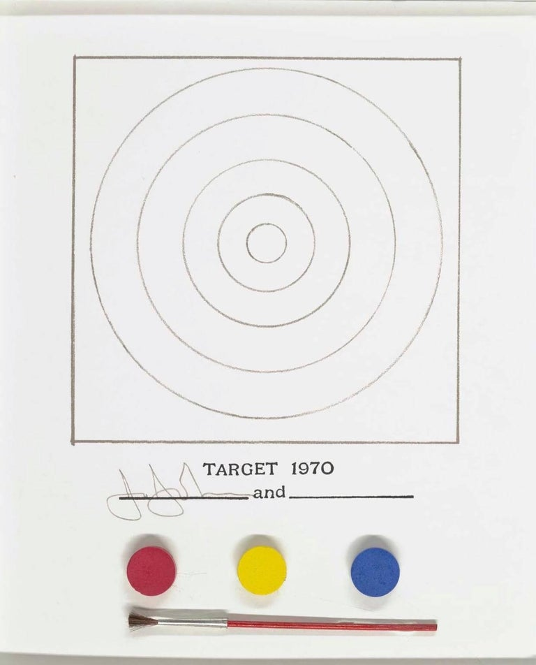 First edition, published by Gemini G.E.L. & MoMA, 1971.  Contained inside this white plastic box is the potential to create your own collaborative artwork with Jasper Johns. With three paints in the primary colors, a sheet of concentric circles
