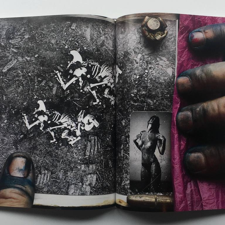 """First edition, hardcover, published by Libro Port Publishing, Japan, 1993.  """"From a Dead Man's Wallet: Confessions of a Bookmaker.""""   A striking and surreal record of Peter Beard's Diaries, which themselves are equally as surreal. Collages of"""