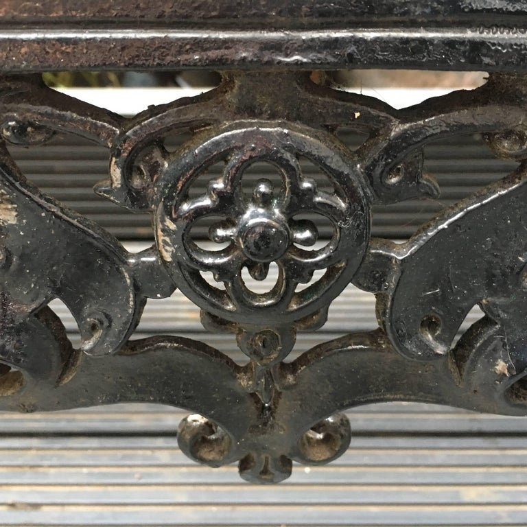 Mid-19th Century Original Coalbrookdale Cast Iron Garden Bench, 1853 For Sale