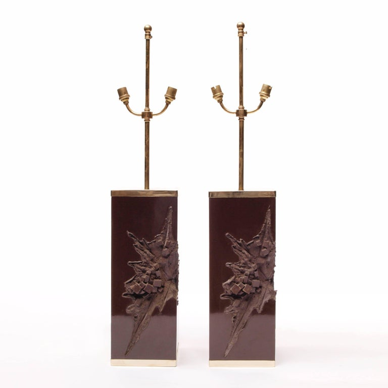 Late 20th Century Pair of Large Philippe Cheverny Cast Resin Lamps with Shades, 1970s For Sale