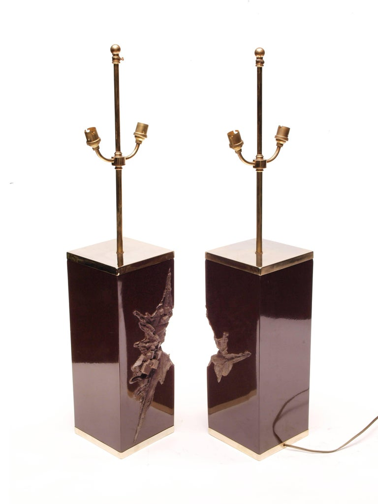 Pair of Large Philippe Cheverny Cast Resin Lamps with Shades, 1970s For Sale 1