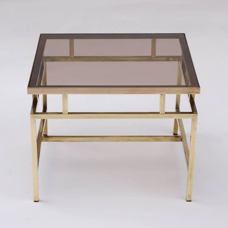 Mid-Century Modern Brass and Smoked Glass Coffee Table in the Style of Maison Jansen For Sale
