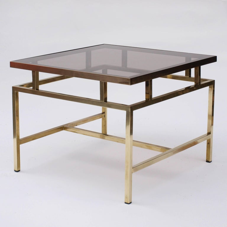 European Brass and Smoked Glass Coffee Table in the Style of Maison Jansen For Sale
