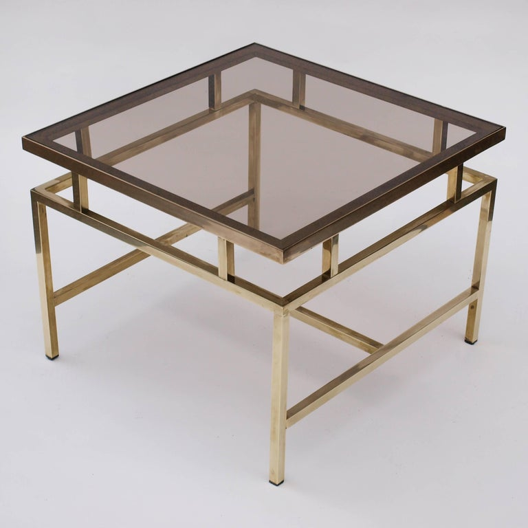 Brass and Smoked Glass Coffee Table in the Style of Maison Jansen In Good Condition For Sale In London, GB