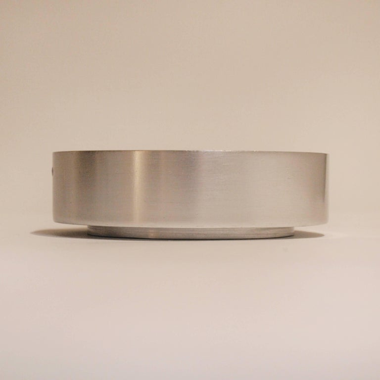 Rare brushed aluminium ashtray designed by Pierre Vandel. Iconic 1970s design pieces, for Espace de Pierre Cardin.