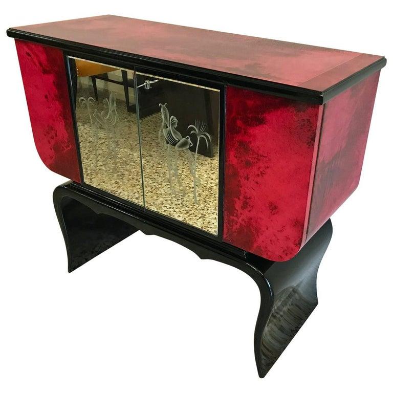 1950s Parchment Bar Cabinet