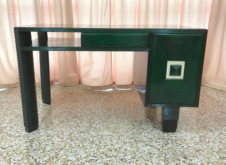 Mid-20th Century Exclusive 1930s Art Deco Desk, Italy For Sale