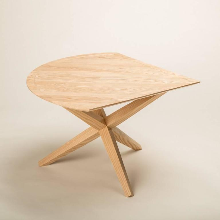 Hand-Crafted Solid Ash Jack Base End Table For Sale