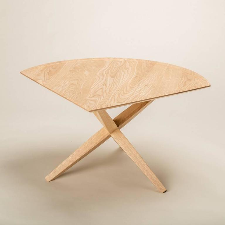 Solid Ash Jack Base End Table In New Condition For Sale In San Diego, CA