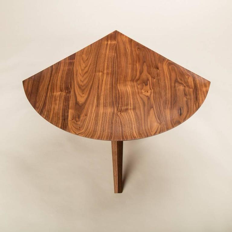 Mid-Century Modern Solid Walnut Jack Base Corner Table For Sale