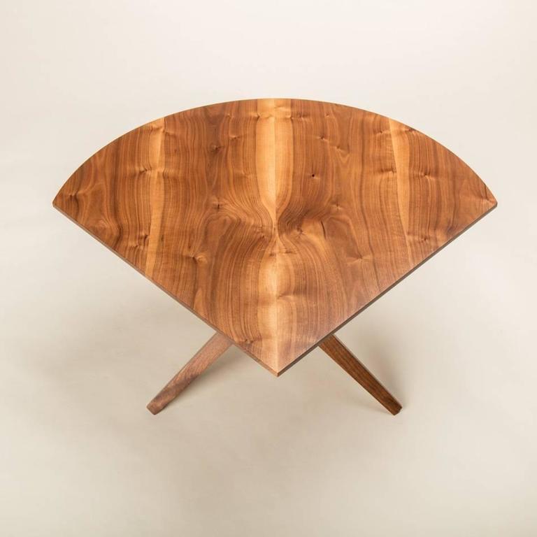 American Solid Walnut Jack Base Corner Table For Sale
