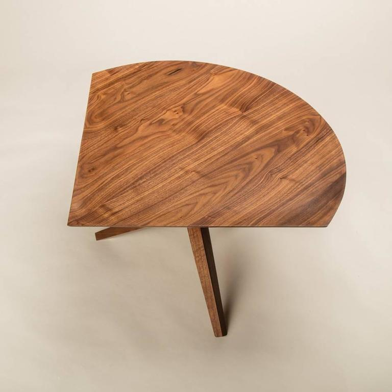 Solid Walnut Jack Base Corner Table In New Condition For Sale In San Diego, CA