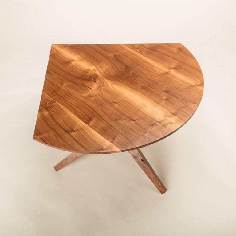 Hand-Crafted Solid Walnut Jack Base Corner Table For Sale