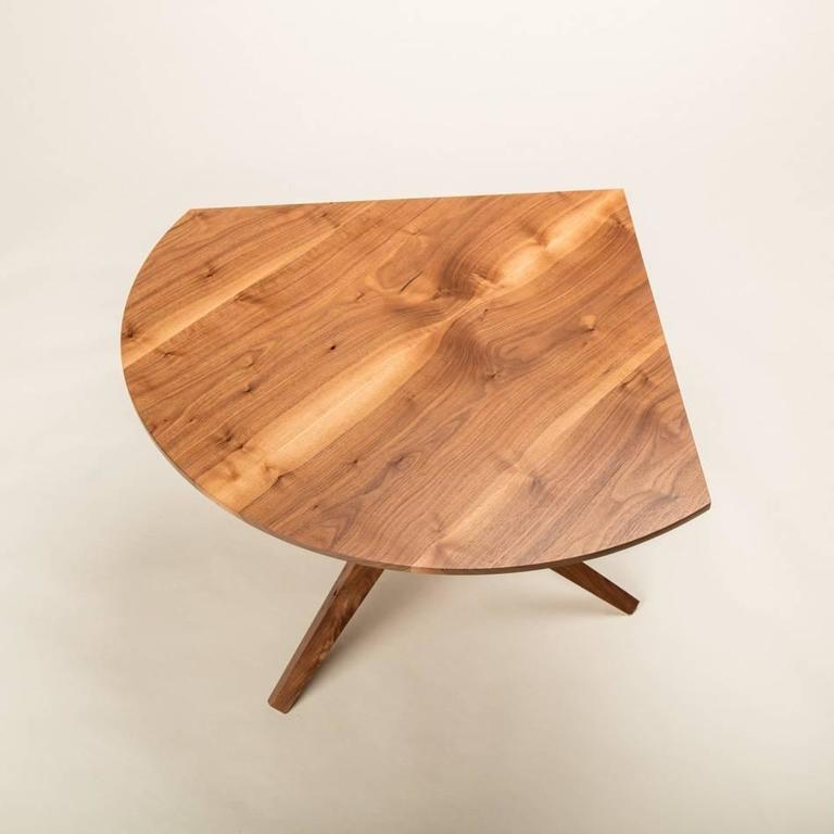 Contemporary Solid Walnut Jack Base Corner Table For Sale