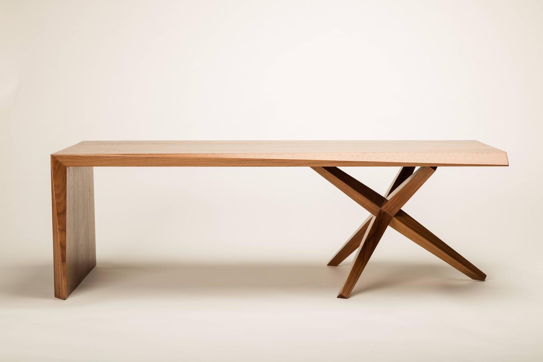 Twist Table Solid Walnut Alternating Bevel Design For Sale