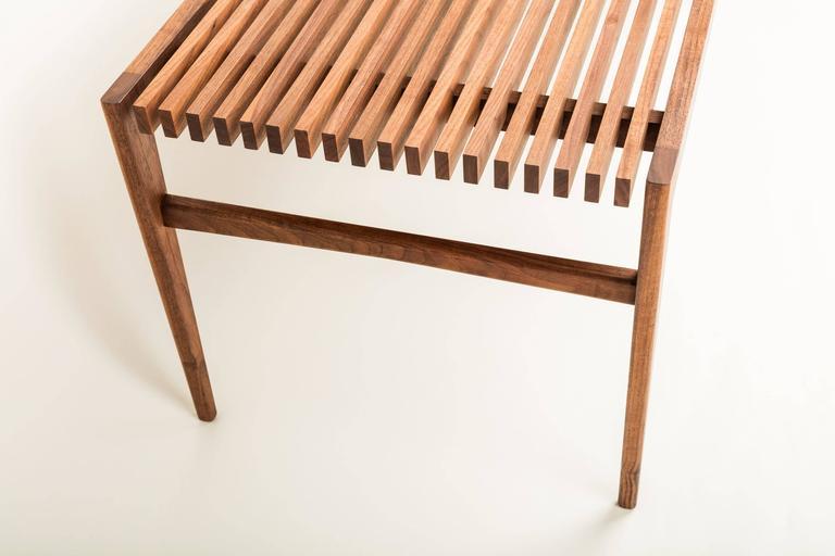 Handmade Walnut Slat Bench For Sale At 1stdibs