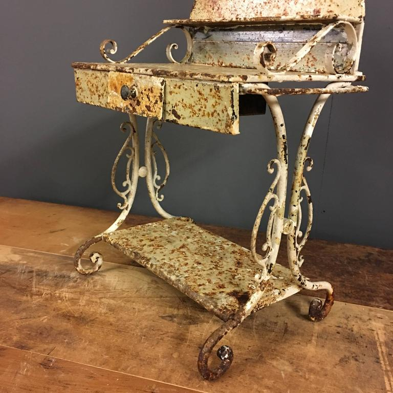 Aluminum Brass Working France: Antique Miniature Scale Model Metal Washstand, France