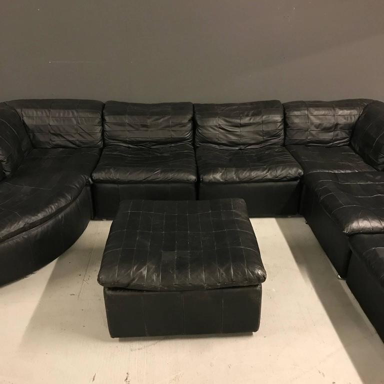 Vintage Black Modular Patchwork Sofa by Laauser at 1stdibs