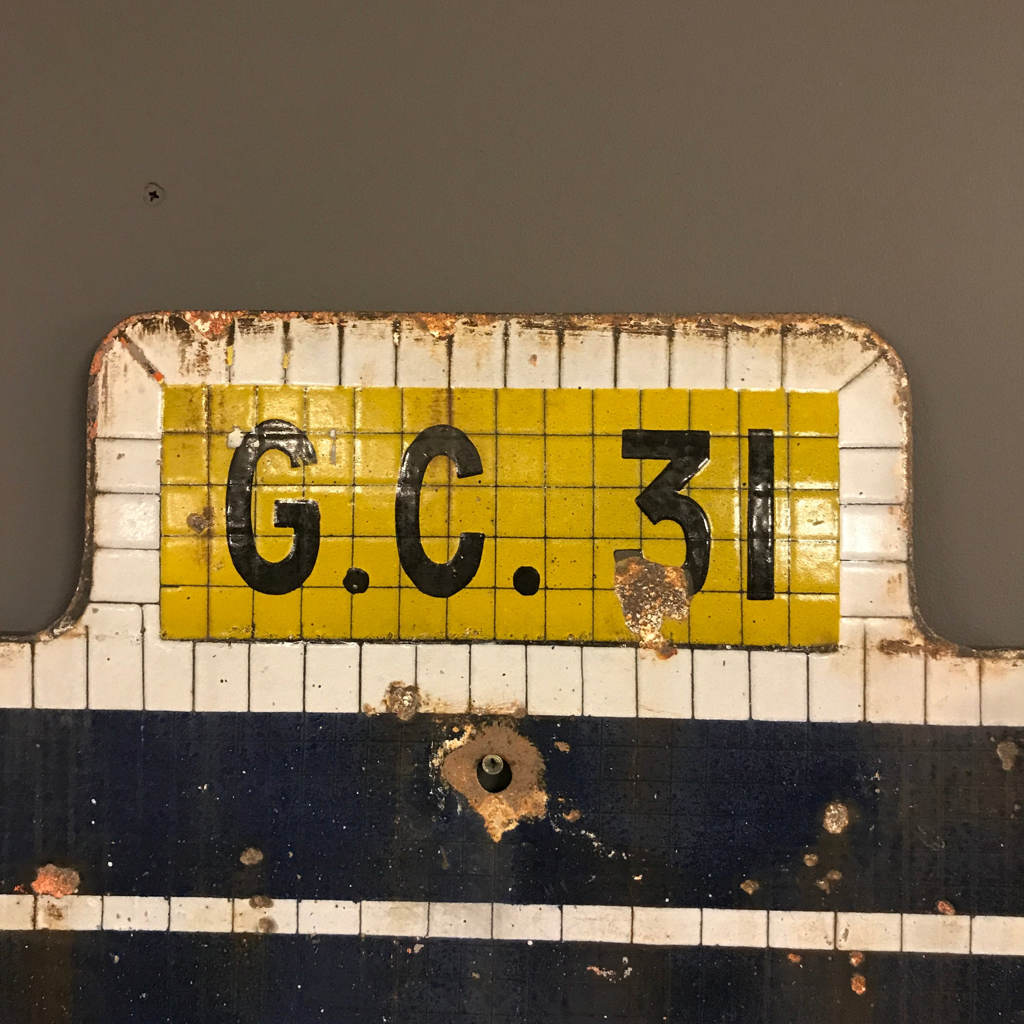 Enamel Sign French Railway Station Hervilly at 1stdibs