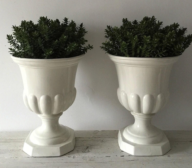 Large pair of casa pupo glazed white ceramic urns at 1stdibs - Large decorative vases and urns ...