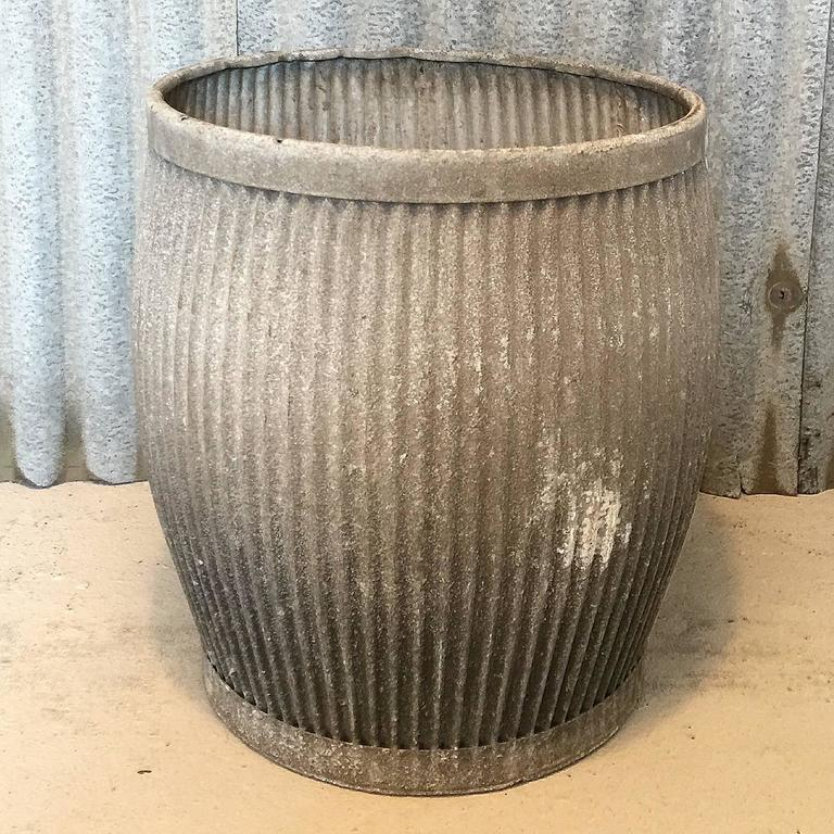Early 20th Century Galvanized Dolly Wash Tub Planter At