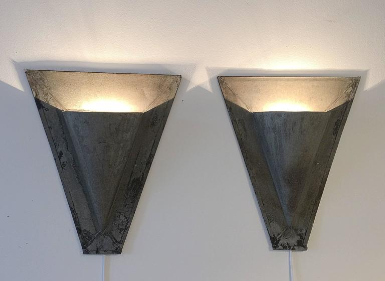 Zinc Wall Sconces : 19th Century Zinc Galvanised Architectural Uplighters Wall Sconces at 1stdibs