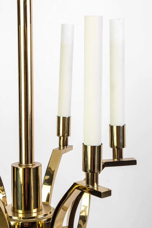 Exquisite Mid-Century Modernist Candelabra Chandelier by Frederick Cooper In Good Condition For Sale In Kingston, NY
