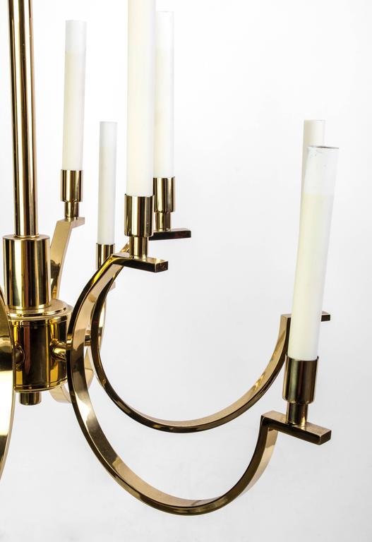 Brass Exquisite Mid-Century Modernist Candelabra Chandelier by Frederick Cooper For Sale