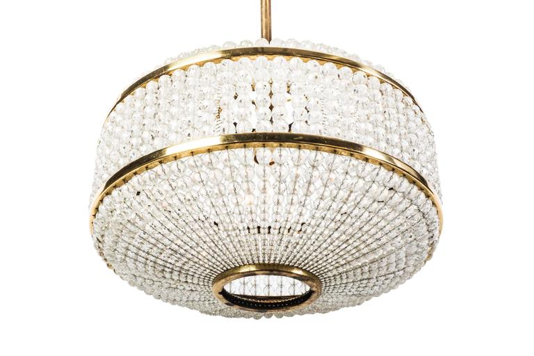 Mid-Century Modern Exceptional Crystal Chandelier Pendant by Lobmeyr For Sale