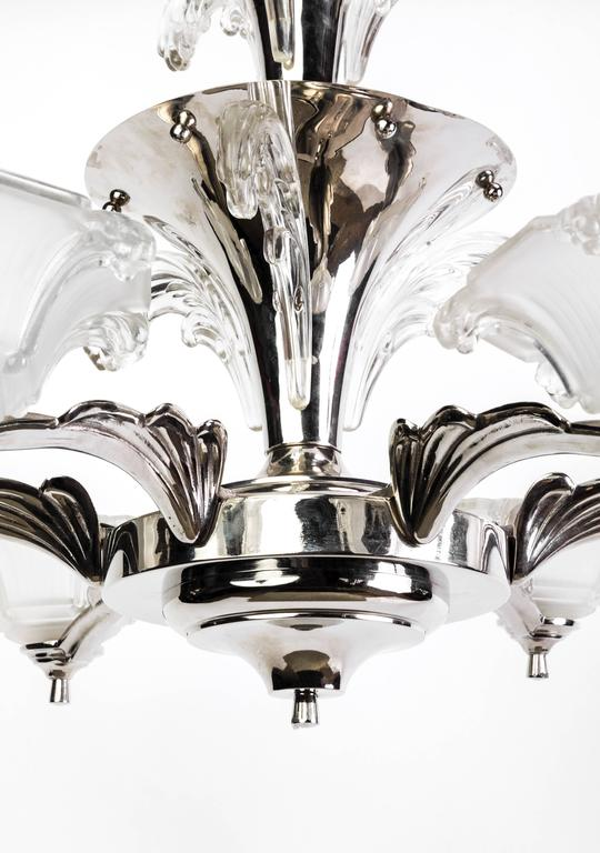 Impressive 1930s French Art Deco Chandelier Signed by Petitot In Good Condition For Sale In Kingston, NY