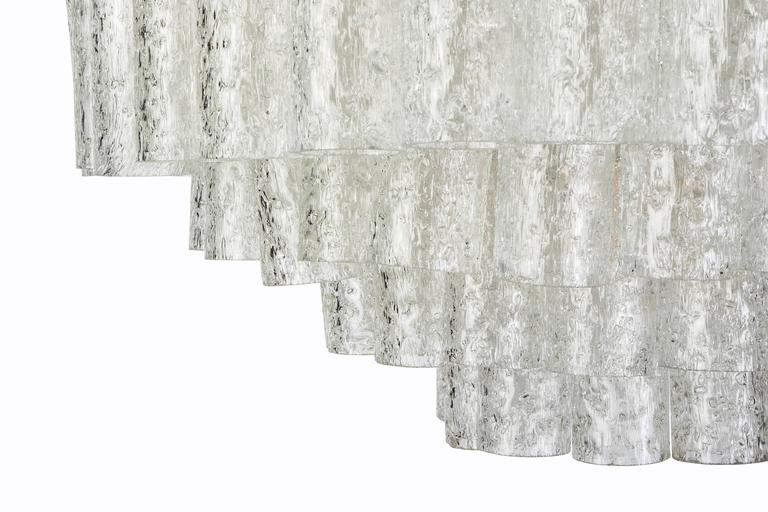 Mid-20th Century Exceptional German Multi-Tiered Glass Tube Chandelier by Doria For Sale