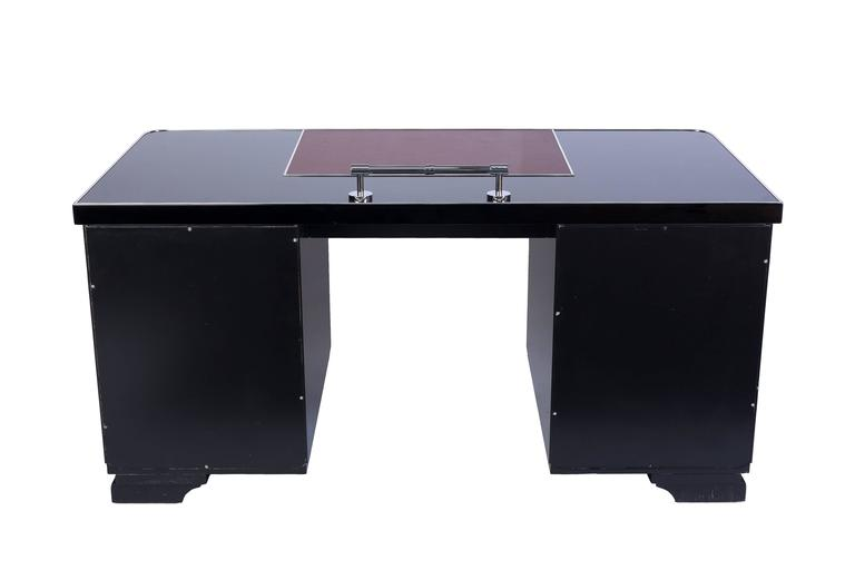 Early 20th Century Art Deco Desk with Leather Applications For Sale