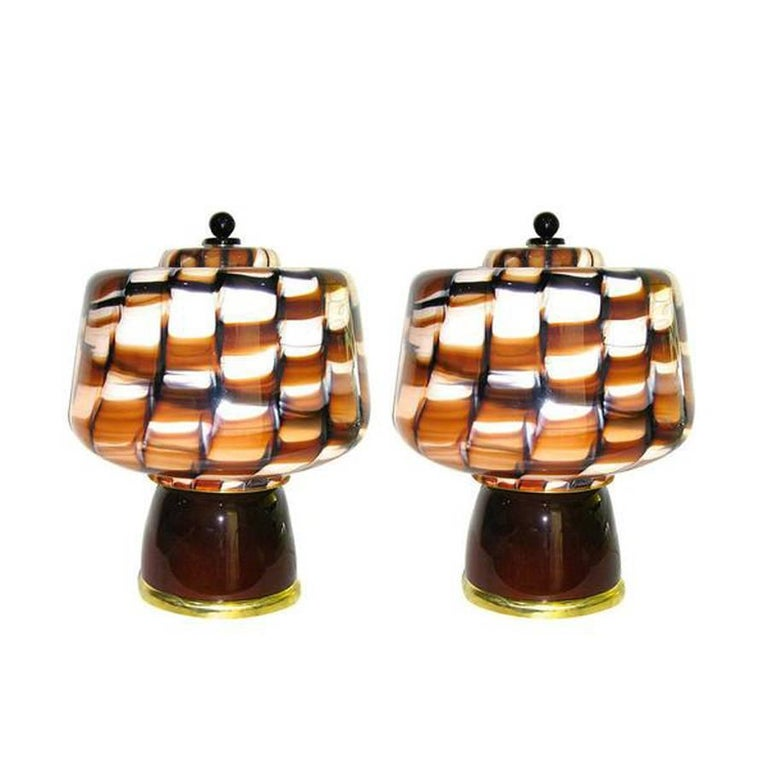 Stunning Pair of Murano Mushroom Table Lamps by Vistosi
