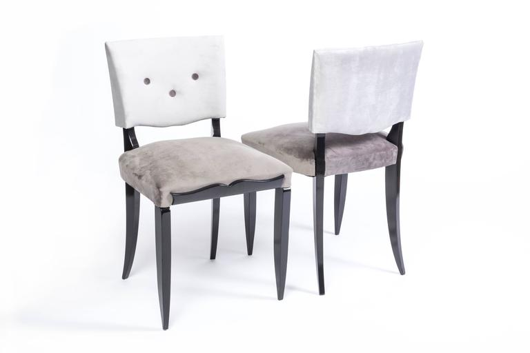 French Chic Set of Six Petit Art Deco Dining Chairs For Sale