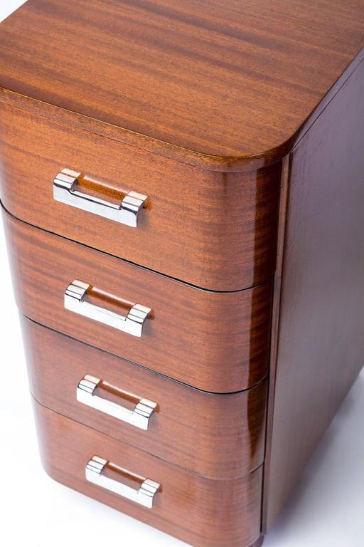Art Deco Outstanding Pair of Nightstands in Solid Mahogany For Sale