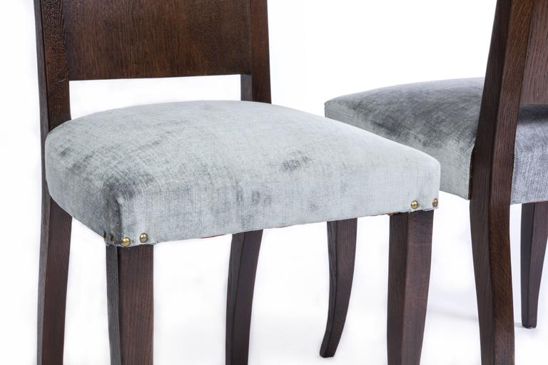 Stunning Set of Eight Art Deco Dining Chairs by Alfred Porteneuve In Good Condition For Sale In Kingston, NY