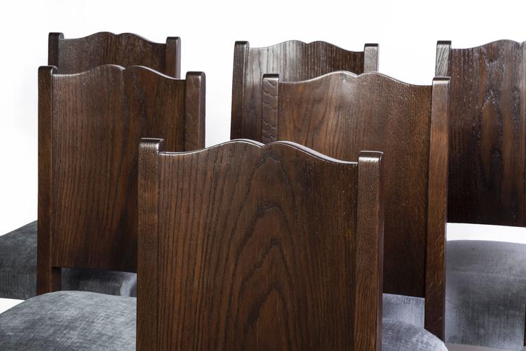 French Stunning Set of Eight Art Deco Dining Chairs by Alfred Porteneuve For Sale