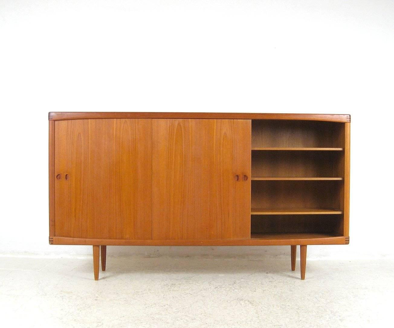 early 1970s large h w klein sideboard or credenza in teak for sale at 1stdibs. Black Bedroom Furniture Sets. Home Design Ideas
