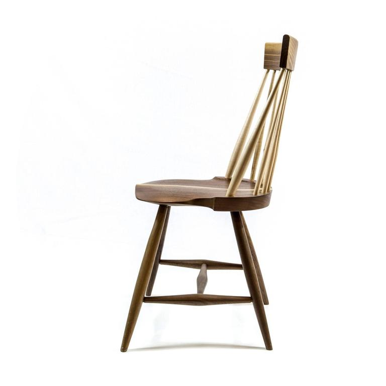 American Modern Shimna Berkshire Side Chair in Walnut with Maple Details For Sale