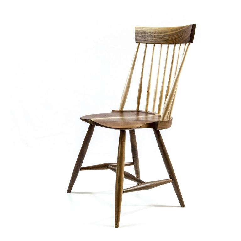North American Shimna Berkshire Side Chair in Walnut with Maple Details For Sale