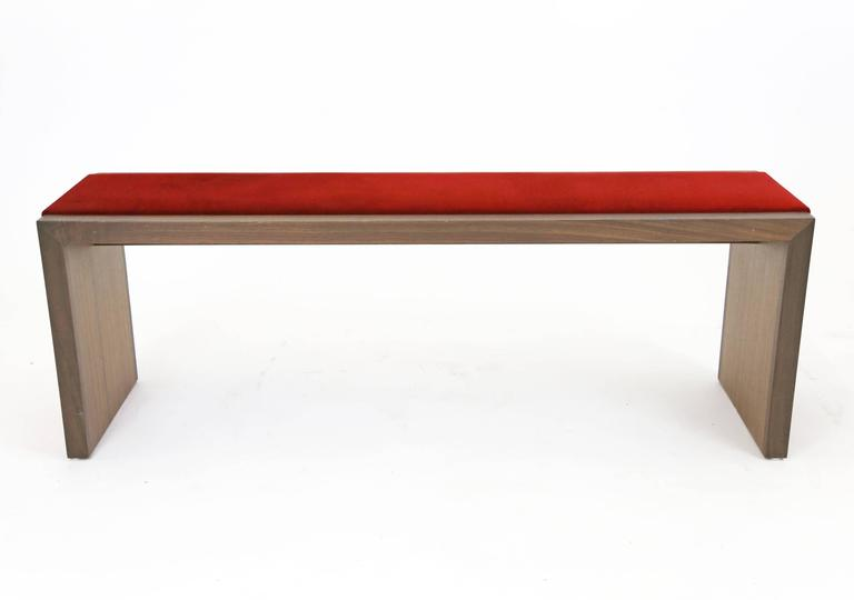 Sentient Walnut Bench with Red Velvet Upholstery 2