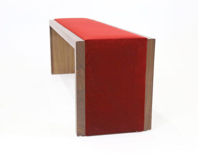 American Modern Sentient Walnut Bench with Red Velvet Upholstery For Sale