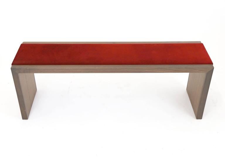 American Sentient Walnut Bench with Red Velvet Upholstery For Sale