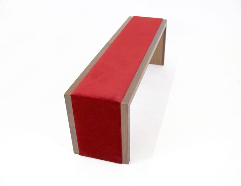 Sentient Walnut Bench with Red Velvet Upholstery 5