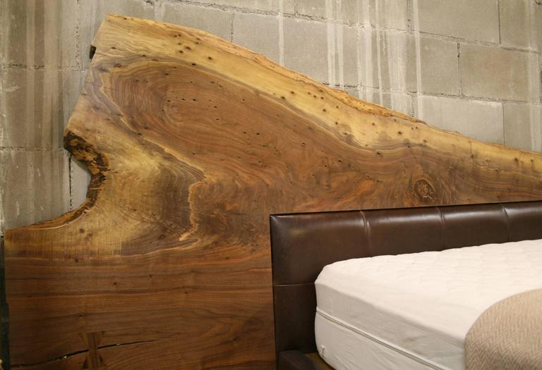 Live Edge American Black Walnut Bed Frame With Leather