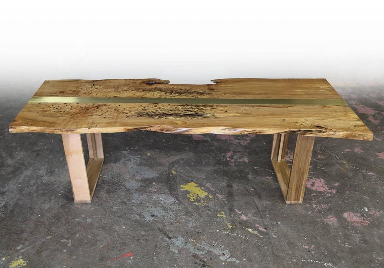 Sentient Shapes Live Edge Maple Table With Brass Inset 3
