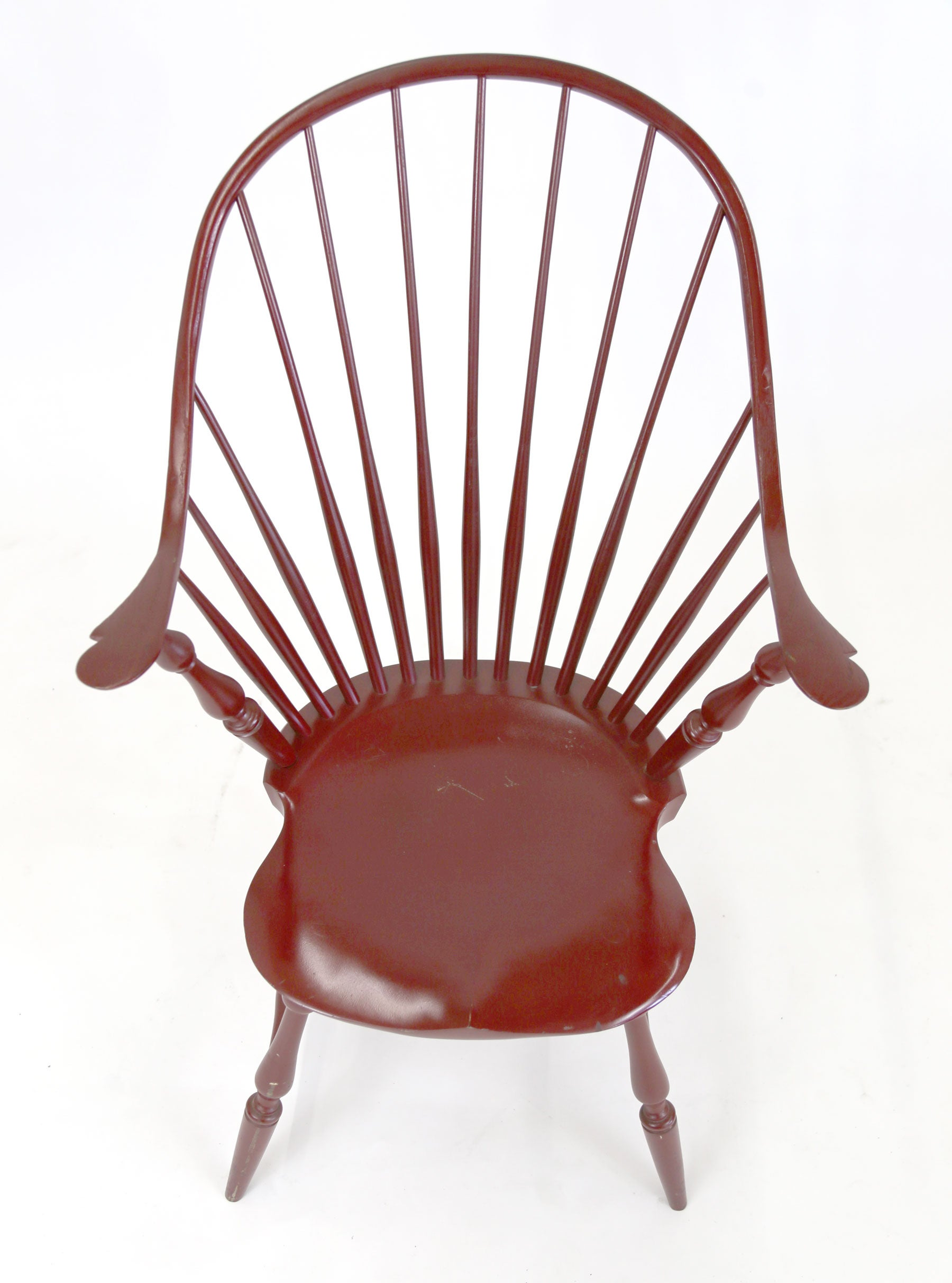 Shimna Windsor Captains Chair, Distressed Red Lacquer Finish For Sale At  1stdibs