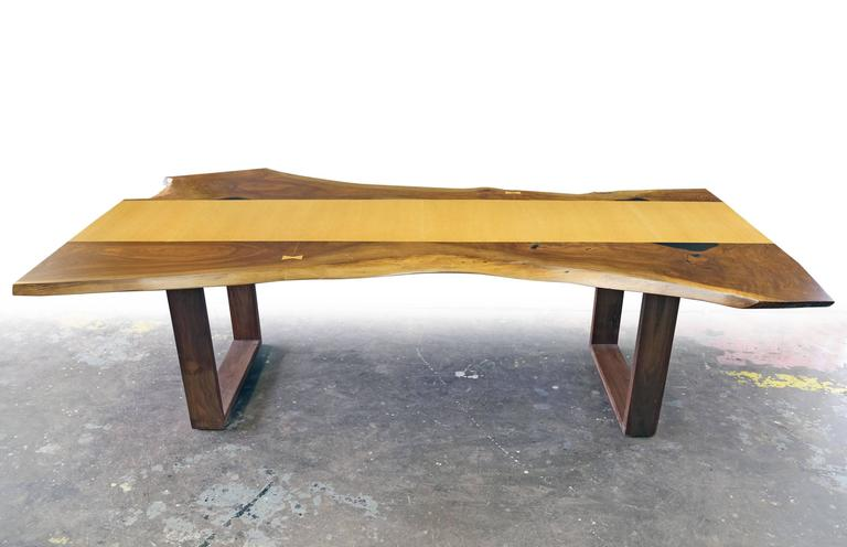 Magnificent Sentient Live Edge Black Walnut Slab Dining Table With Red Oak Veneer Download Free Architecture Designs Licukmadebymaigaardcom