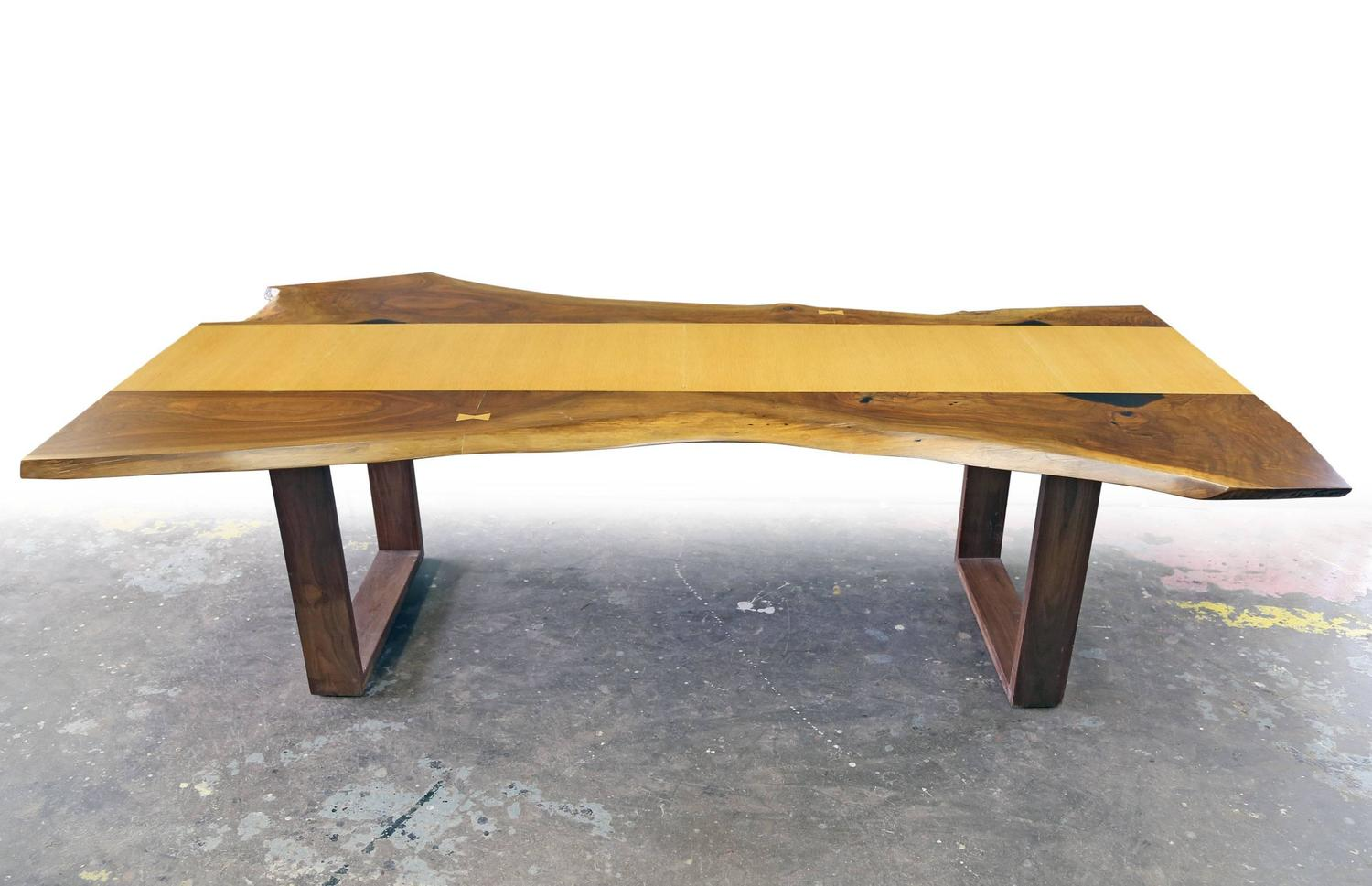 Sentient Live Edge Black Walnut Slab Dining Table With Red Oak Veneer For Sale At 1stdibs